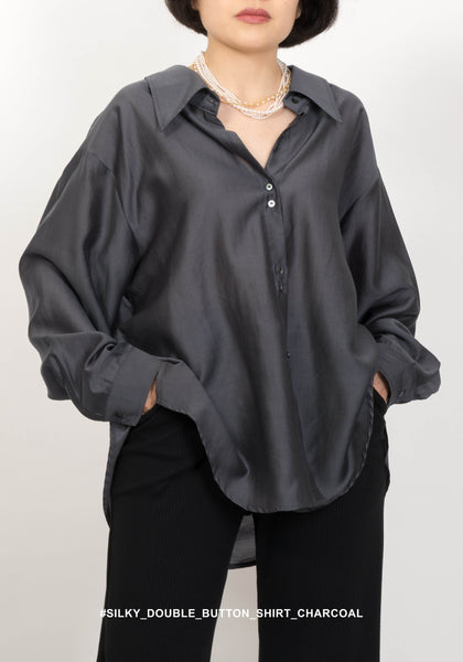 Silky Double Button Shirt Charcoal