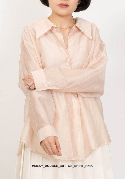 Silky Double Button Shirt Pink
