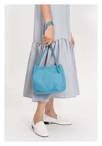 On Shoulder Square Leather Bag Blue