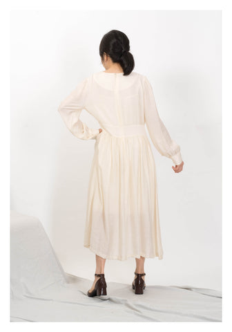 Silky V Patch Dress Ivory