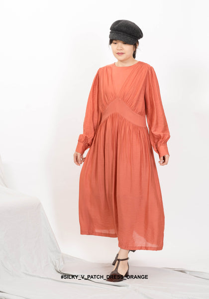 Silky V Patch Dress Orange