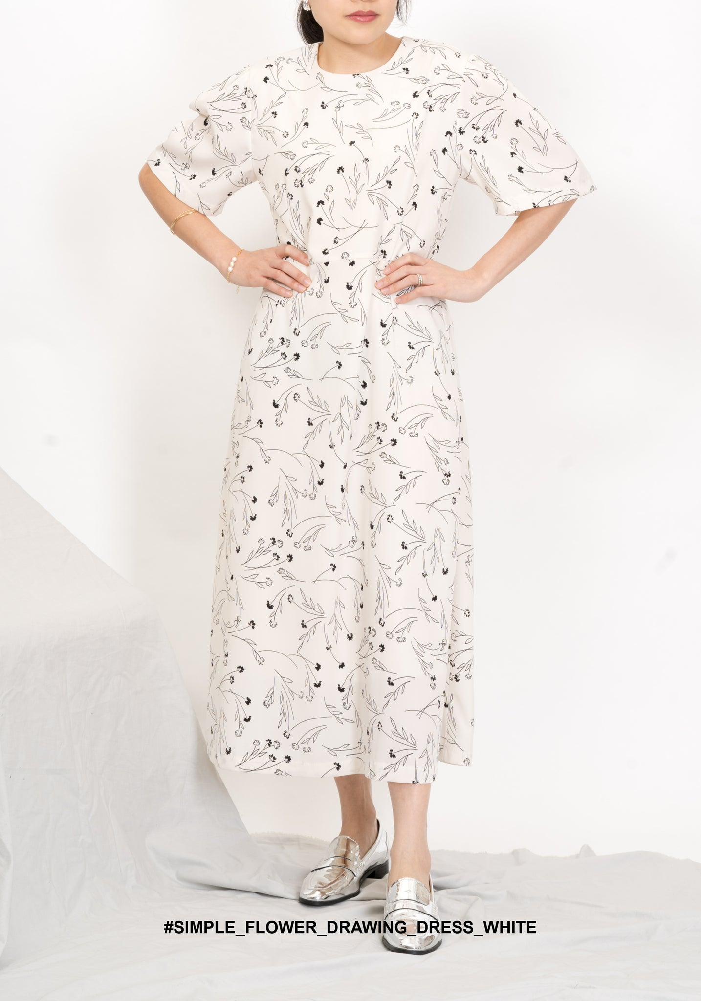Simple Flower Drawing Dress White - whoami