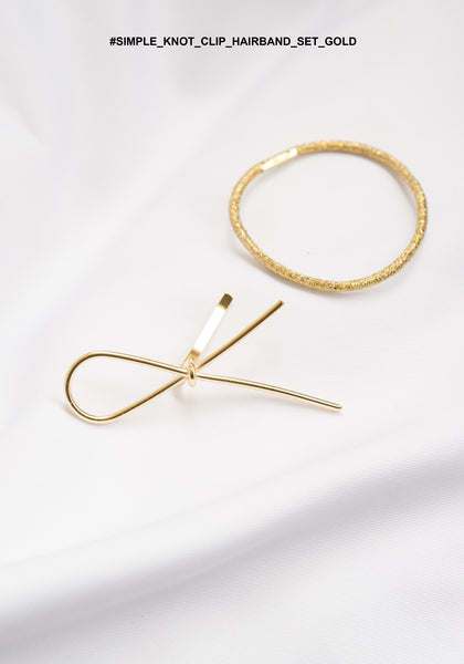 Simple Knot Clip Hairband Set Gold - whoami