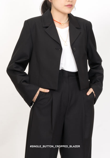 Single Button Cropped Blazer - whoami