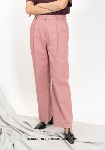 Single Fold Straight Pants Pink
