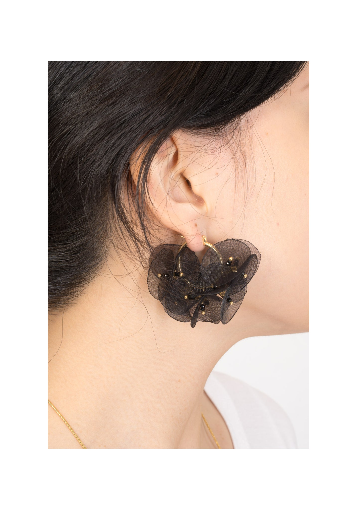 Circle Sheer Floral Earrings Black - whoami
