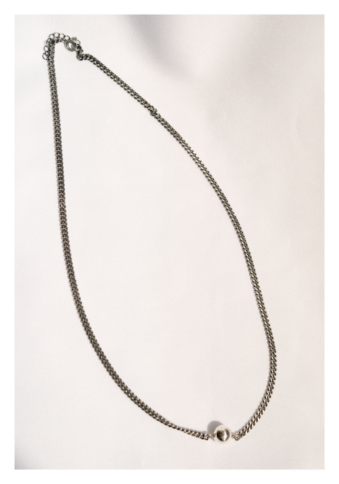 925 Silver Single Medium Beads Necklace - whoami