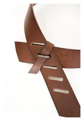 Slash Buckle Wide Leather Belt Brown - whoami