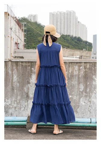 Sleeveless Tiered Dress Blue - whoami