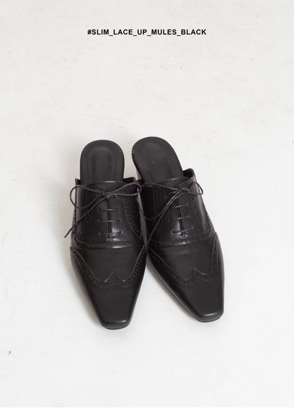 Slim Lace Up Mules Black - whoami