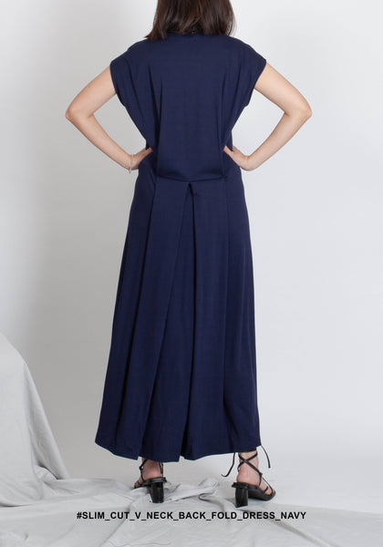 Slim Cut V Neck Back Fold Dress Navy