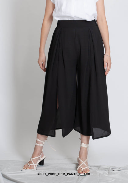 Slit Wide Hem Pants Black - whoami