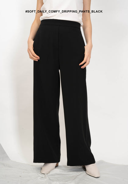 Soft Daily Comfy Dripping Pants Black