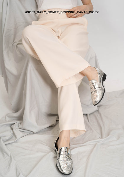 Soft Daily Comfy Dripping Pants Ivory