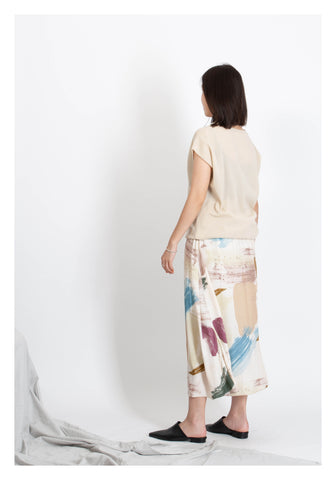 Soft Painting Flare Skirt Beige