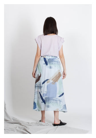Soft Painting Flare Skirt Blue