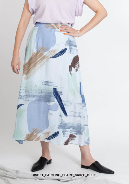 Soft Painting Flare Skirt Blue - whoami