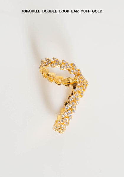 Sparkle Double Loop Ear Cuff Gold - whoami