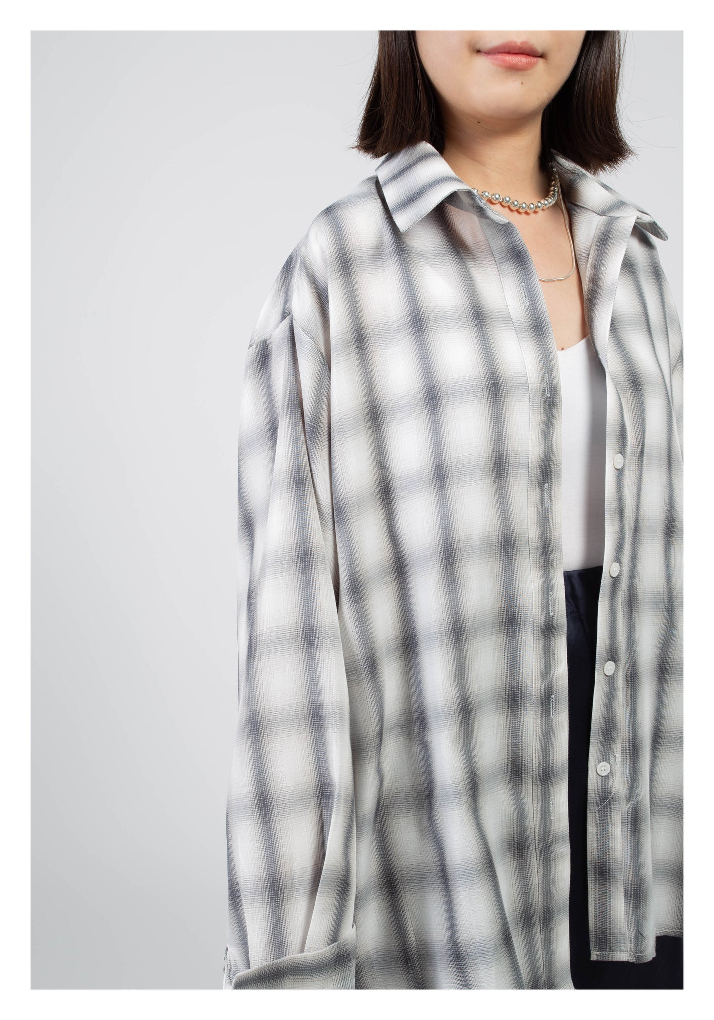 Spring Checker Relaxing Shirt Grey
