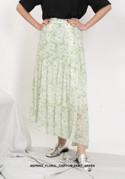 Spring Floral Chiffon Skirt Green