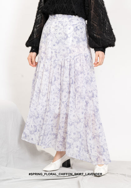 Spring Floral Chiffon Skirt Lavender - whoami