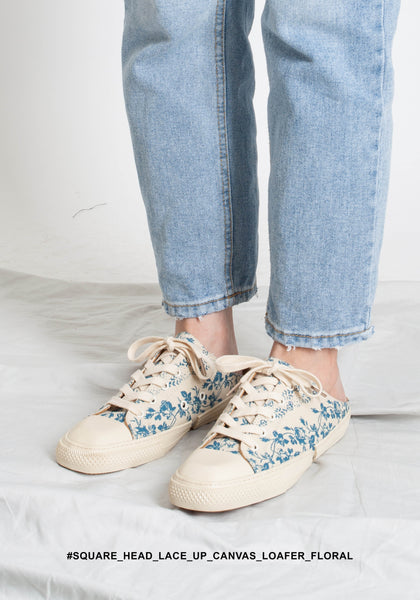 Square Head Lace Up Canvas Loafer Floral - whoami