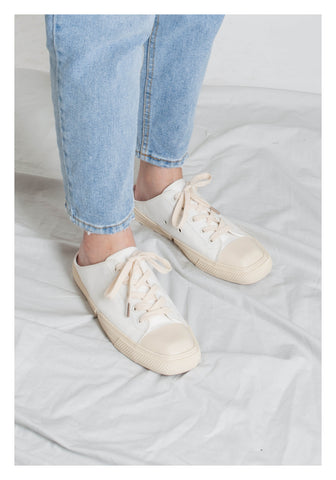 Square Head Lace Up Canvas Loafer Ivory - whoami