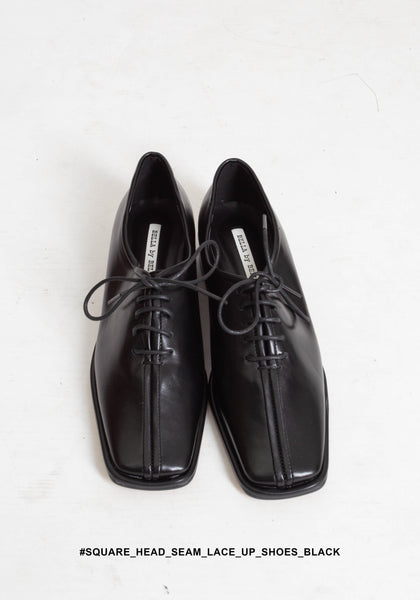 Square Head Seam Lace Up Shoes Black - whoami