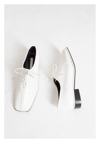 Square Head Seam Lace Up Shoes White - whoami