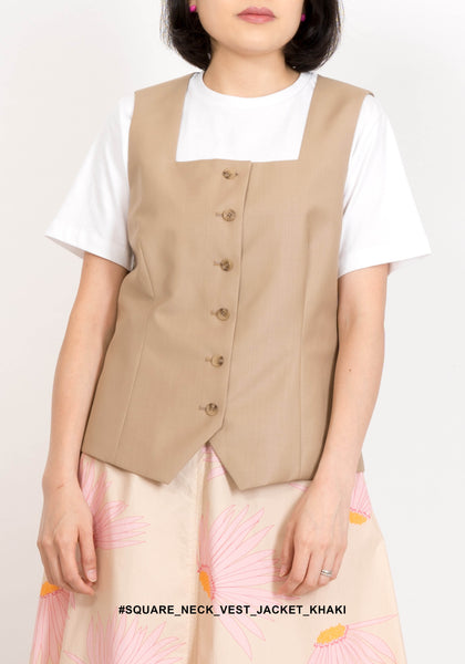 Square Neck Vest Jacket Khaki - whoami