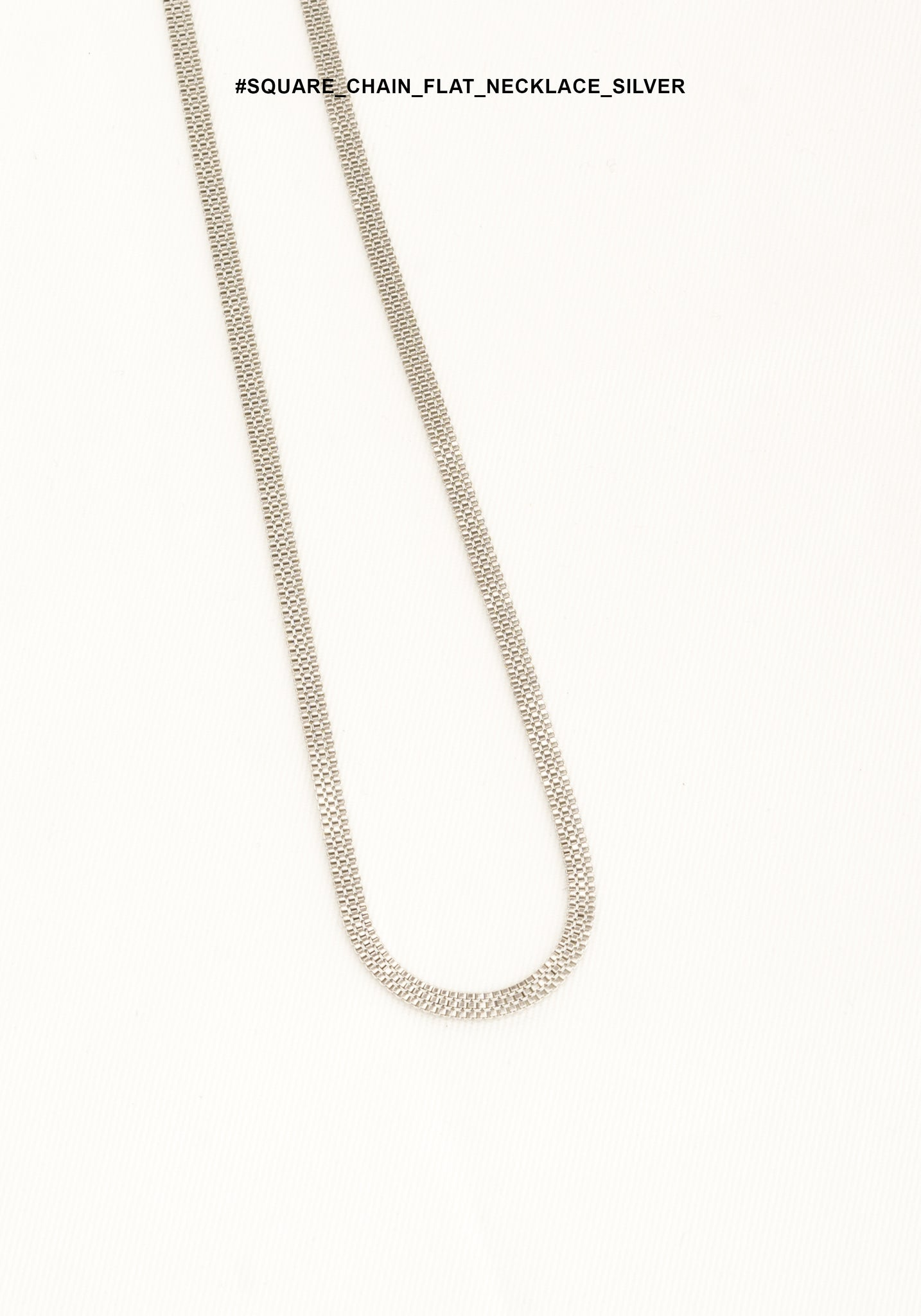Square Chain Flat Necklace Silver - whoami