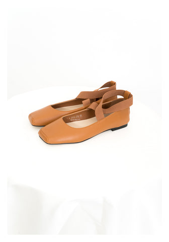 Square Head Ballet Shoes Brown - whoami