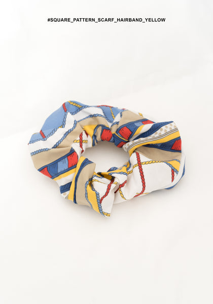 Square Pattern Scarf Hairband Yellow - whoami