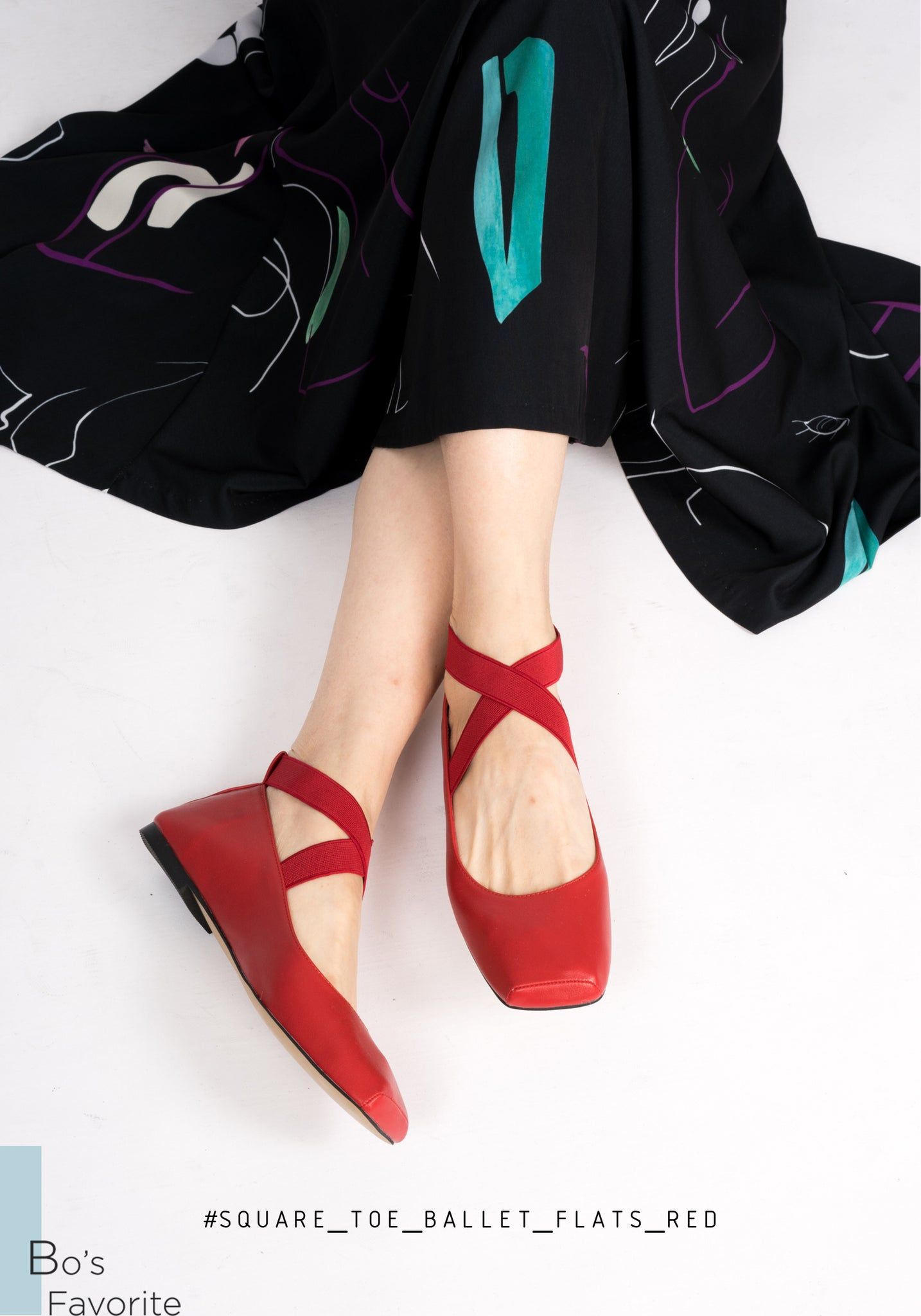Square Toe Ballet Flats Red