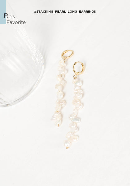 Stacking Pearl Long Earrings - whoami
