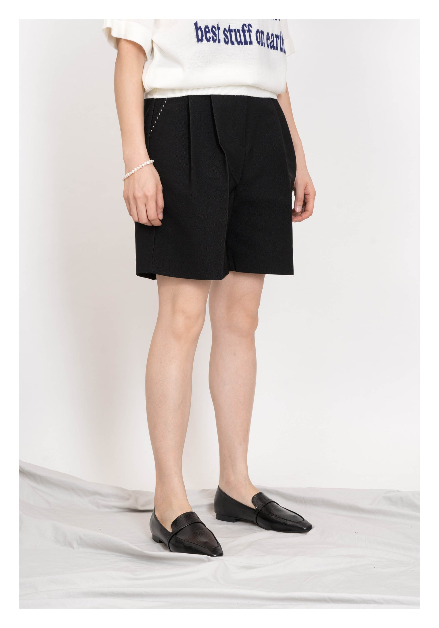 Stitch Bermuda Shorts Black - whoami