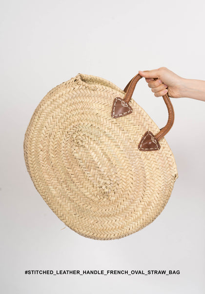 Stitched Leather handle French Oval Straw Bag