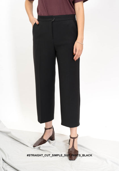 Straight Cut Simple Suit Pants Black