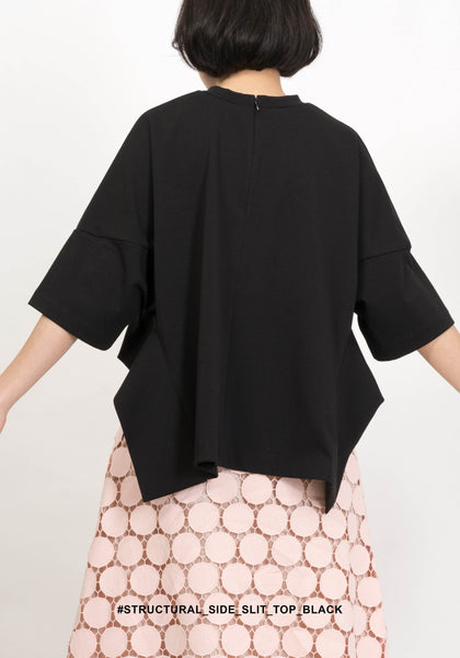 Structural Side Slit Top Black