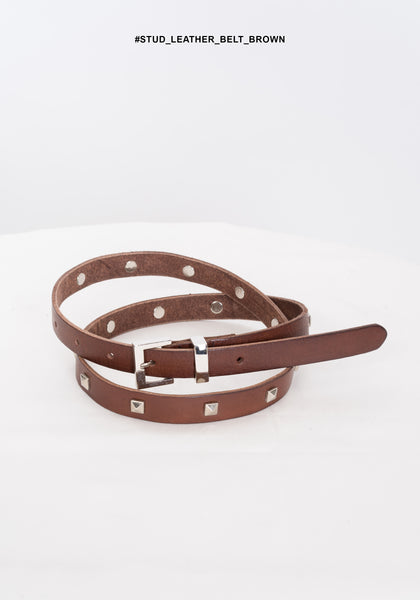 Stud Leather Belt Brown - whoami