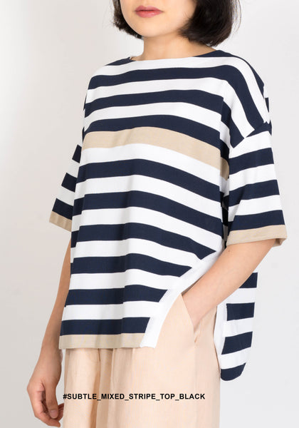Subtle Mixed Stripe Top Black - whoami