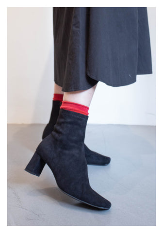 Suede Socks Boots Black - whoami