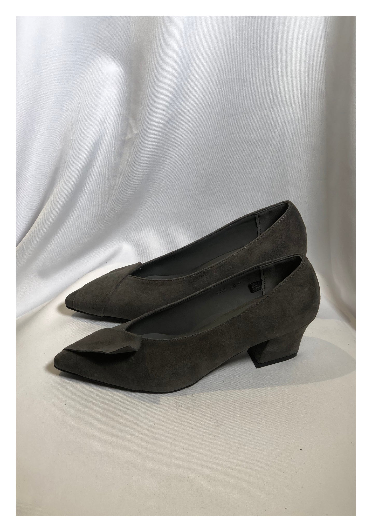 Sample Shoes - Suede Fold Heels Grey