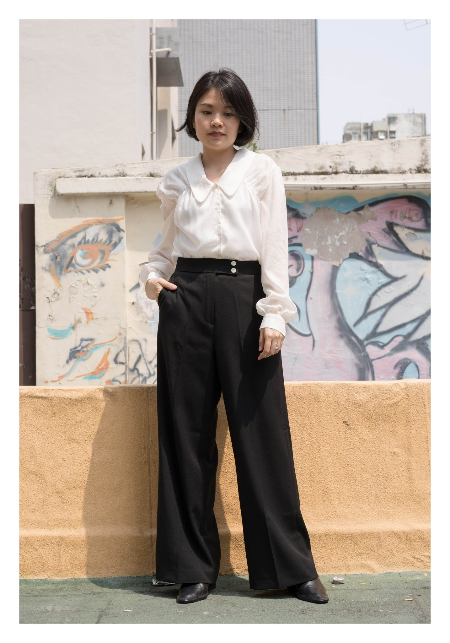 Summer Comfy Two Button Wide Leg Pants Black - whoami