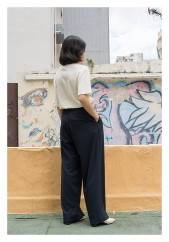 Summer Cool Wide Leg Pants Navy - whoami