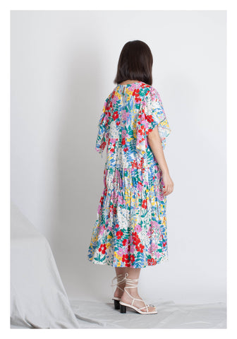 Summer Floral Flare Sleeve Dress