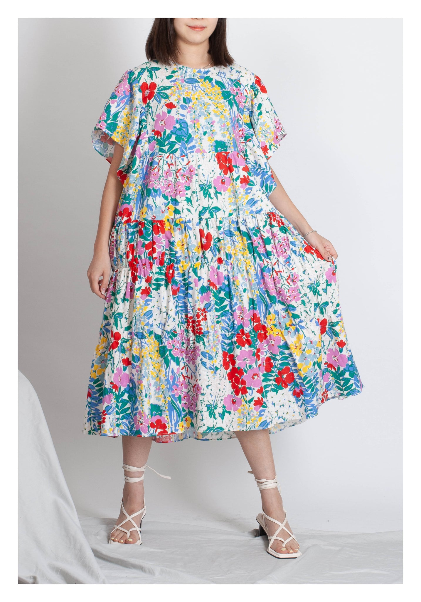 Summer Floral Flare Sleeve Dress - whoami
