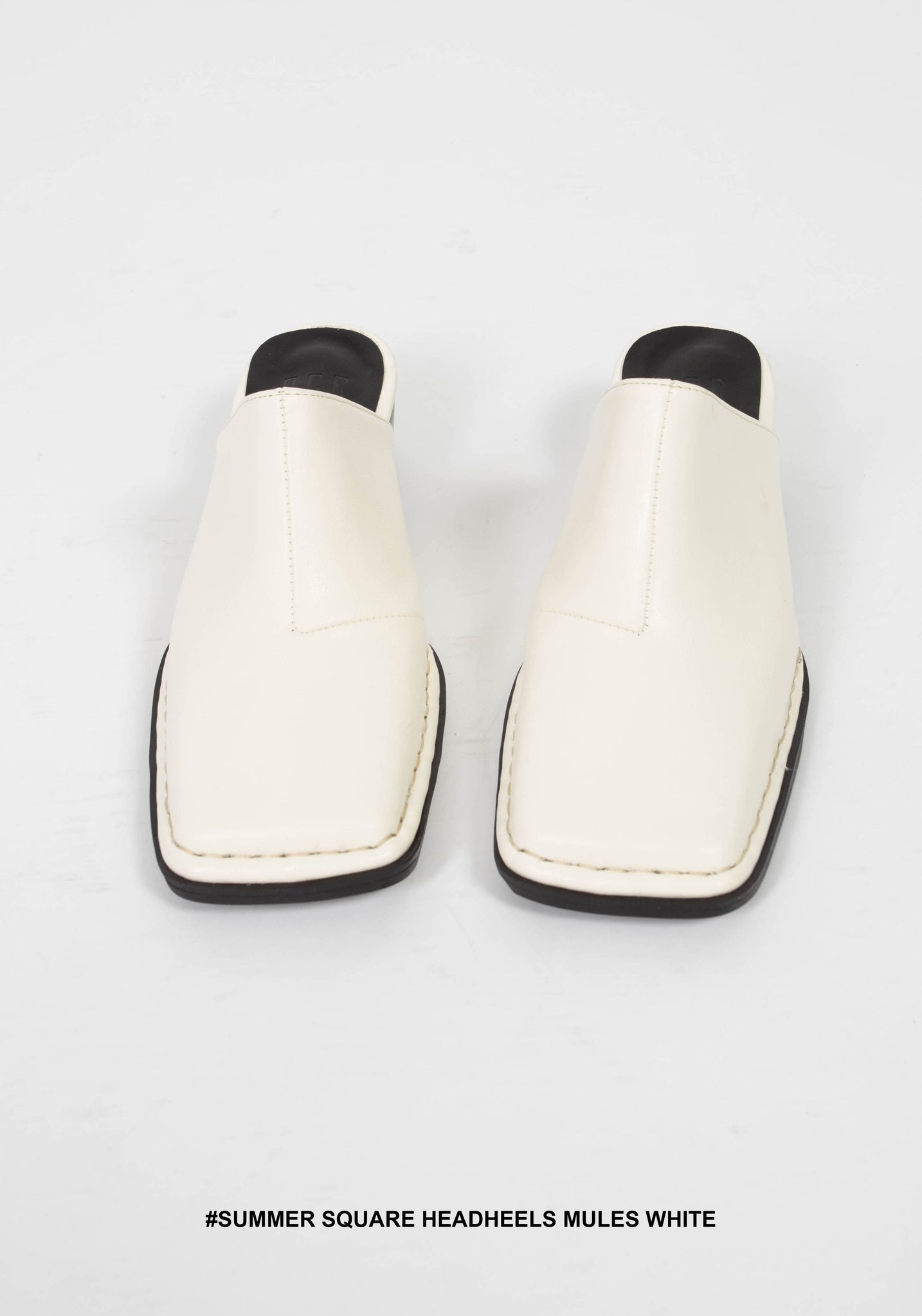 Summer Square Headheels Mules White