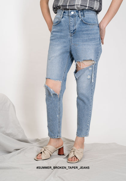 Summer Broken Taper Jeans - whoami