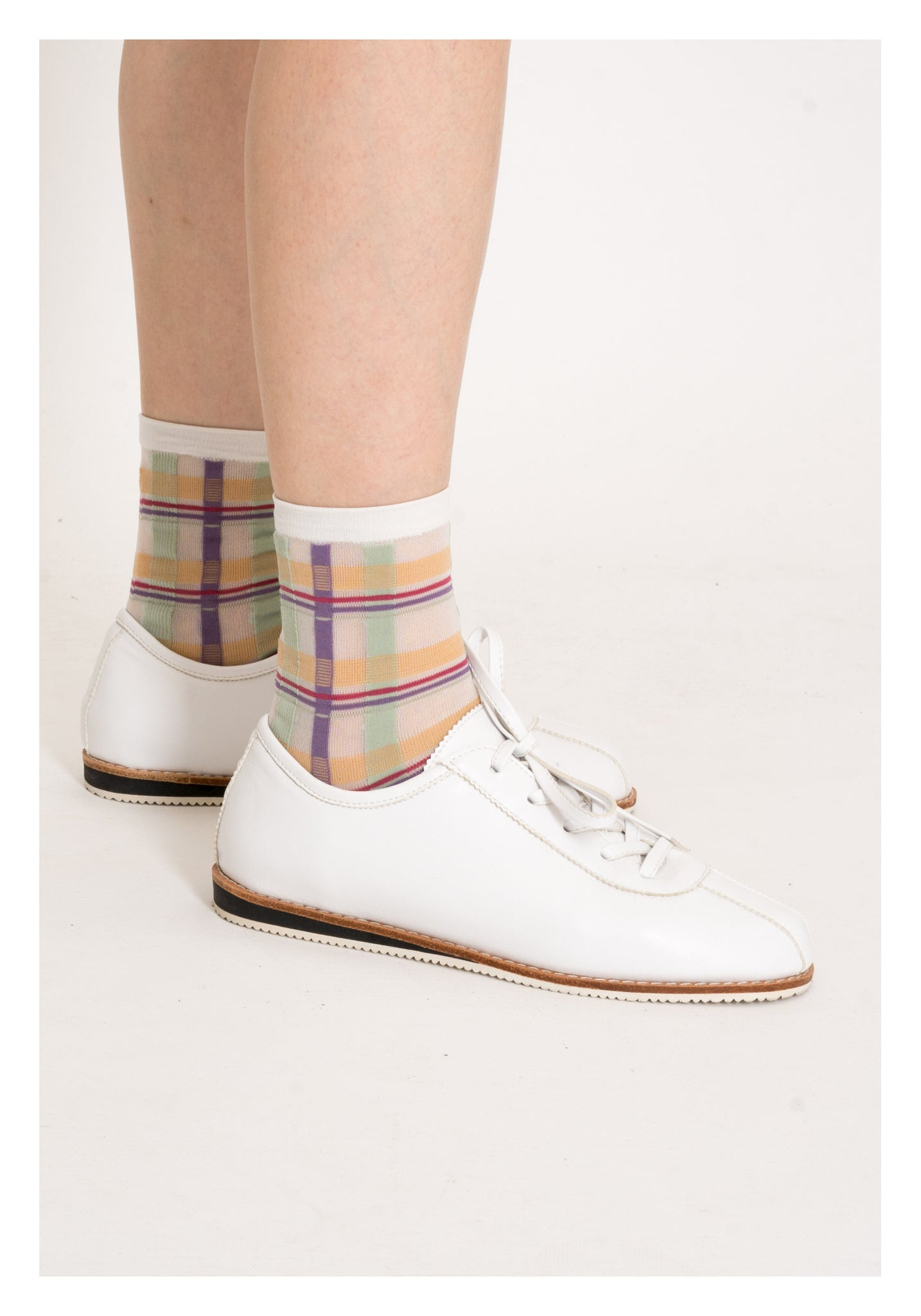 Summer Nice Colour Checker Socks Purple - whoami